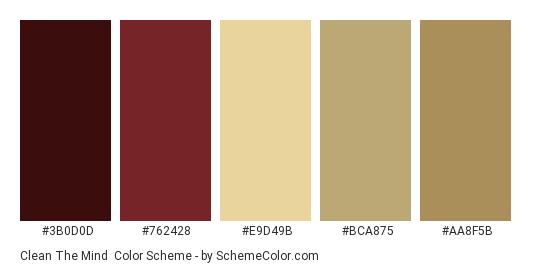 Clean the Mind - Color scheme palette thumbnail - #3B0D0D #762428 #E9D49B #BCA875 #AA8F5B
