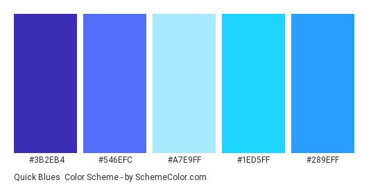 Quick Blues - Color scheme palette thumbnail - #3B2EB4 #546EFC #A7E9FF #1ED5FF #289EFF