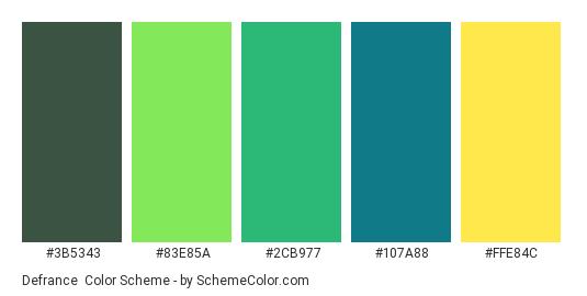 Defrance - Color scheme palette thumbnail - #3B5343 #83E85A #2CB977 #107A88 #FFE84C