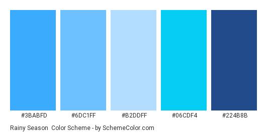 Rainy Season - Color scheme palette thumbnail - #3BABFD #6DC1FF #B2DDFF #06CDF4 #224B8B