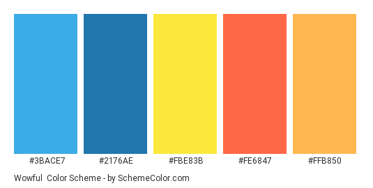 Wowful - Color scheme palette thumbnail - #3BACE7 #2176AE #FBE83B #FE6847 #FFB850