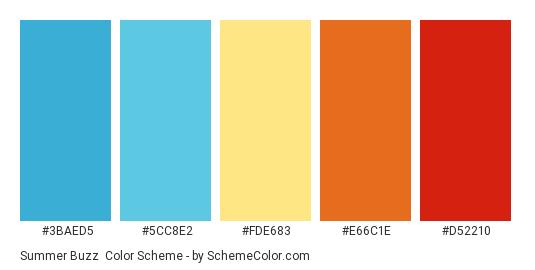 Summer Buzz - Color scheme palette thumbnail - #3BAED5 #5CC8E2 #FDE683 #E66C1E #D52210