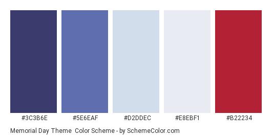 Memorial Day Theme - Color scheme palette thumbnail - #3C3B6E #5E6EAF #D2DDEC #E8EBF1 #B22234