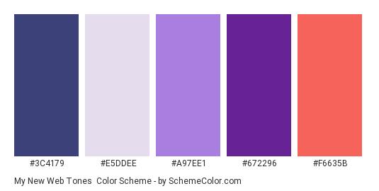 My New Web Tones - Color scheme palette thumbnail - #3C4179 #E5DDEE #A97EE1 #672296 #F6635B