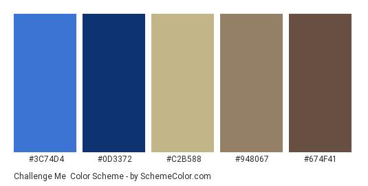 Challenge Me - Color scheme palette thumbnail - #3C74D4 #0D3372 #C2B588 #948067 #674F41