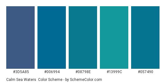 Calm Sea Waters - Color scheme palette thumbnail - #3D5A85 #006994 #08798E #13999C #057490