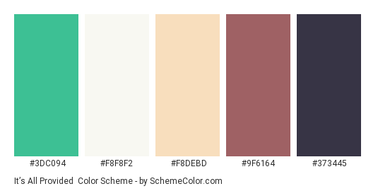 It's All Provided - Color scheme palette thumbnail - #3DC094 #F8F8F2 #F8DEBD #9F6164 #373445
