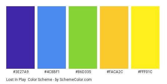 Lost in Play - Color scheme palette thumbnail - #3E27A9 #4C8BF1 #86D335 #FACA2C #FFF01C