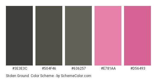Stolen Ground - Color scheme palette thumbnail - #3E3E3C #504F46 #636257 #E781AA #D56493