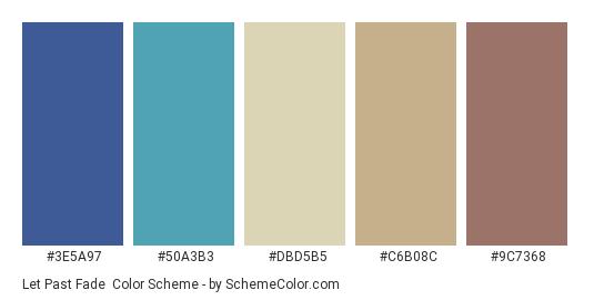 Let Past Fade - Color scheme palette thumbnail - #3E5A97 #50A3B3 #DBD5B5 #C6B08C #9C7368