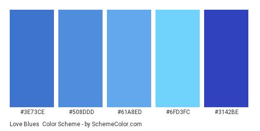 Love Blues - Color scheme palette thumbnail - #3E73CE #508DDD #61A8ED #6FD3FC #3142BE