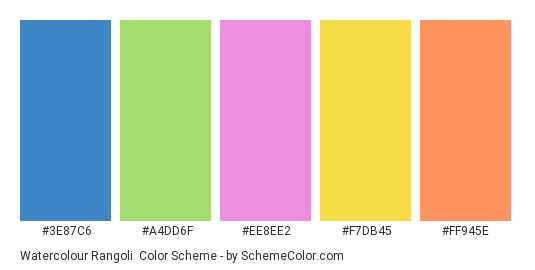 Watercolour Rangoli - Color scheme palette thumbnail - #3E87C6 #A4DD6F #EE8EE2 #F7DB45 #FF945E