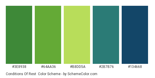 Conditions of Rest - Color scheme palette thumbnail - #3E8938 #64AA36 #B8DD5A #2B7B76 #134668