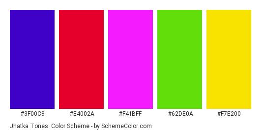 Jhatka Tones - Color scheme palette thumbnail - #3F00C8 #E4002A #F41BFF #62DE0A #F7E200