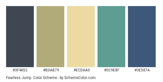 Fearless Jump - Color scheme palette thumbnail - #3F4852 #B0AB79 #ECDAA0 #5C9E8F #3E587A