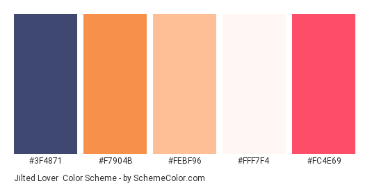 Jilted Lover - Color scheme palette thumbnail - #3F4871 #F7904B #FEBF96 #FFF7F4 #FC4E69