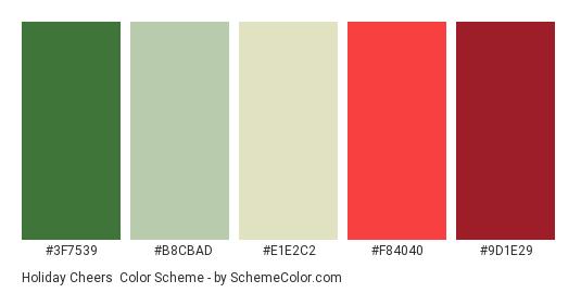 Holiday Cheers - Color scheme palette thumbnail - #3F7539 #B8CBAD #E1E2C2 #F84040 #9D1E29