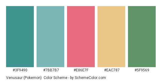 Venusaur (Pokemon) - Color scheme palette thumbnail - #3F9490 #7BB7B7 #E86E7F #EAC787 #5F9569