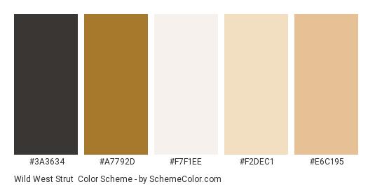 Wild West Strut - Color scheme palette thumbnail - #3a3634 #a7792d #f7f1ee #f2dec1 #e6c195
