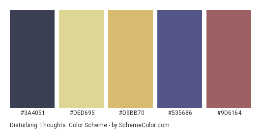 Disturbing Thoughts - Color scheme palette thumbnail - #3a4051 #ded695 #d9bb70 #535686 #9d6164