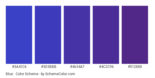 Blue & Purple Gradient - Color scheme palette thumbnail - #3a41c6 #3d3bbb #4634a7 #4c2c96 #512888