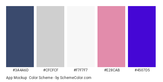App Mockup - Color scheme palette thumbnail - #3a4a6d #cfcfcf #f7f7f7 #e28cab #4507d5