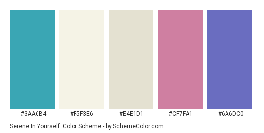 Serene in Yourself - Color scheme palette thumbnail - #3aa6b4 #f5f3e6 #e4e1d1 #cf7fa1 #6a6dc0