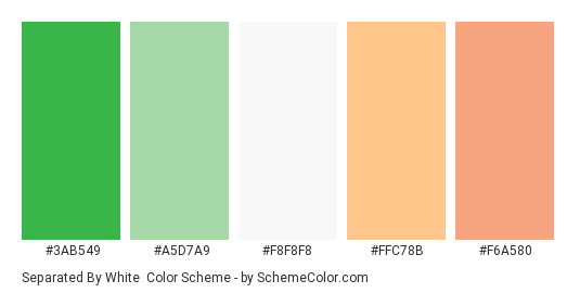 Separated by White - Color scheme palette thumbnail - #3ab549 #a5d7a9 #f8f8f8 #ffc78b #f6a580