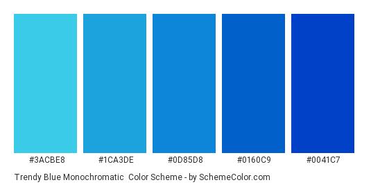 Trendy Blue Monochromatic - Color scheme palette thumbnail - #3acbe8 #1ca3de #0d85d8 #0160c9 #0041c7
