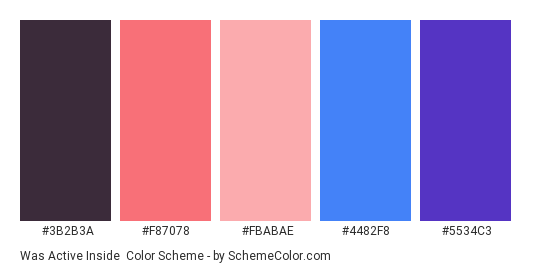 Was Active Inside - Color scheme palette thumbnail - #3b2b3a #f87078 #fbabae #4482f8 #5534c3