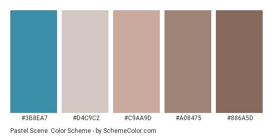 Pastel Scene - Color scheme palette thumbnail - #3b8ea7 #d4c9c2 #c9aa9d #a08475 #886a5d