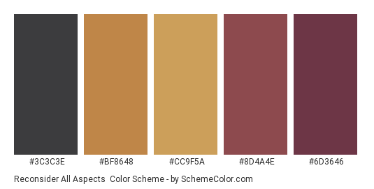 Reconsider All Aspects - Color scheme palette thumbnail - #3c3c3e #bf8648 #cc9f5a #8d4a4e #6d3646