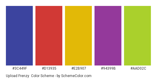 Upload Frenzy - Color scheme palette thumbnail - #3c449f #d13935 #e2b907 #94399b #aad02c