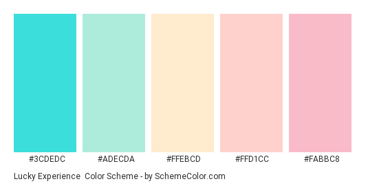 Lucky Experience - Color scheme palette thumbnail - #3cdedc #adecda #ffebcd #ffd1cc #fabbc8