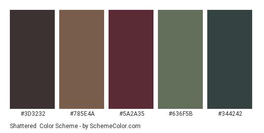 Shattered - Color scheme palette thumbnail - #3d3232 #785e4a #5a2a35 #636f5b #344242