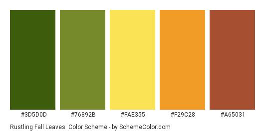 Rustling Fall Leaves - Color scheme palette thumbnail - #3d5d0d #76892B #fae355 #F29C28 #A65031