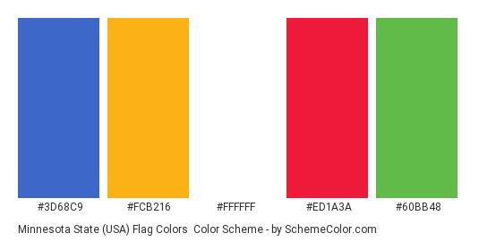 Minnesota State (USA) Flag Colors - Color scheme palette thumbnail - #3d68c9 #fcb216 #ffffff #ed1a3a #60bb48