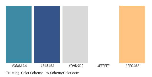 Trusting - Color scheme palette thumbnail - #3d8aa4 #34548a #d9d9d9 #ffffff #ffc482