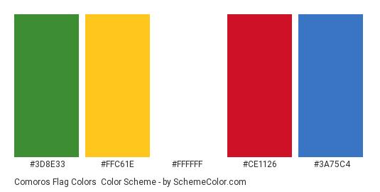 Comoros Flag Colors - Color scheme palette thumbnail - #3d8e33 #ffc61e #ffffff #ce1126 #3a75c4