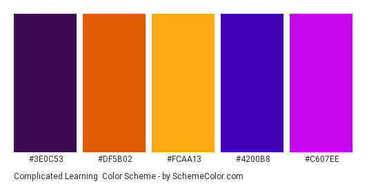 Complicated Learning - Color scheme palette thumbnail - #3e0c53 #df5b02 #fcaa13 #4200b8 #c607ee