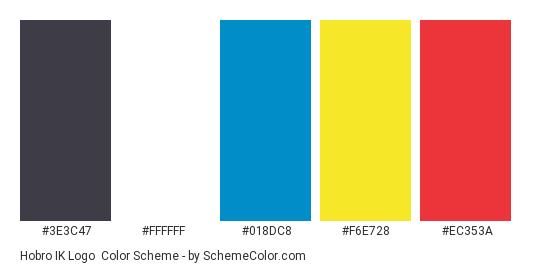 Hobro IK Logo - Color scheme palette thumbnail - #3e3c47 #ffffff #018dc8 #f6e728 #ec353a