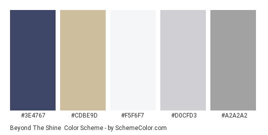 Beyond the Shine - Color scheme palette thumbnail - #3e4767 #cdbe9d #f5f6f7 #d0cfd3 #a2a2a2
