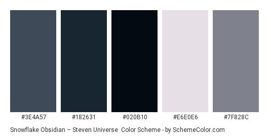 Snowflake Obsidian – Steven Universe - Color scheme palette thumbnail - #3e4a57 #182631 #020b10 #e6e0e6 #7f828c