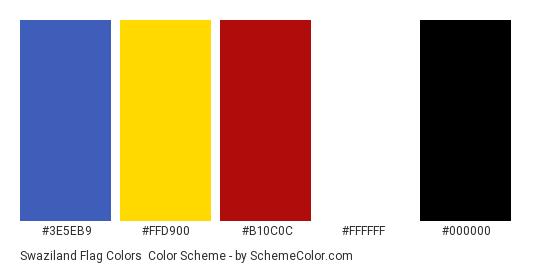 Swaziland Flag Colors - Color scheme palette thumbnail - #3e5eb9 #ffd900 #b10c0c #ffffff #000000