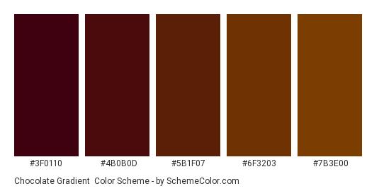 Chocolate Gradient - Color scheme palette thumbnail - #3f0110 #4b0b0d #5b1f07 #6f3203 #7b3e00