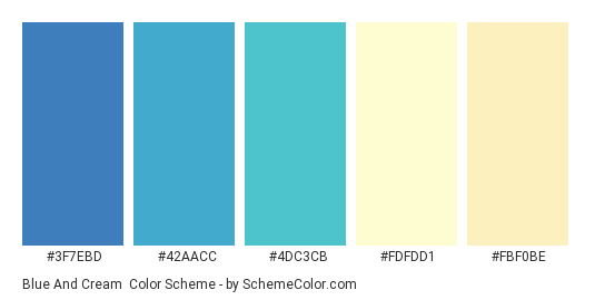 Blue And Cream - Color scheme palette thumbnail - #3f7ebd #42aacc #4dc3cb #fdfdd1 #fbf0be