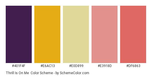 Thrill Is On Me - Color scheme palette thumbnail - #401f4f #e6ac13 #e0d899 #e3918d #df6863