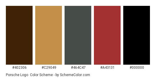 Porsche Logo - Color scheme palette thumbnail - #402306 #c29049 #464c47 #a43131 #000000