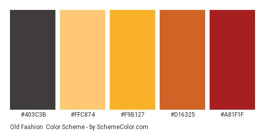 Old Fashion - Color scheme palette thumbnail - #403c3b #ffc874 #f9b127 #d16325 #a81f1f