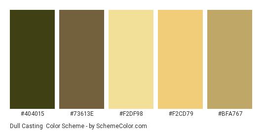 Dull Casting - Color scheme palette thumbnail - #404015 #73613E #F2DF98 #F2CD79 #BFA767